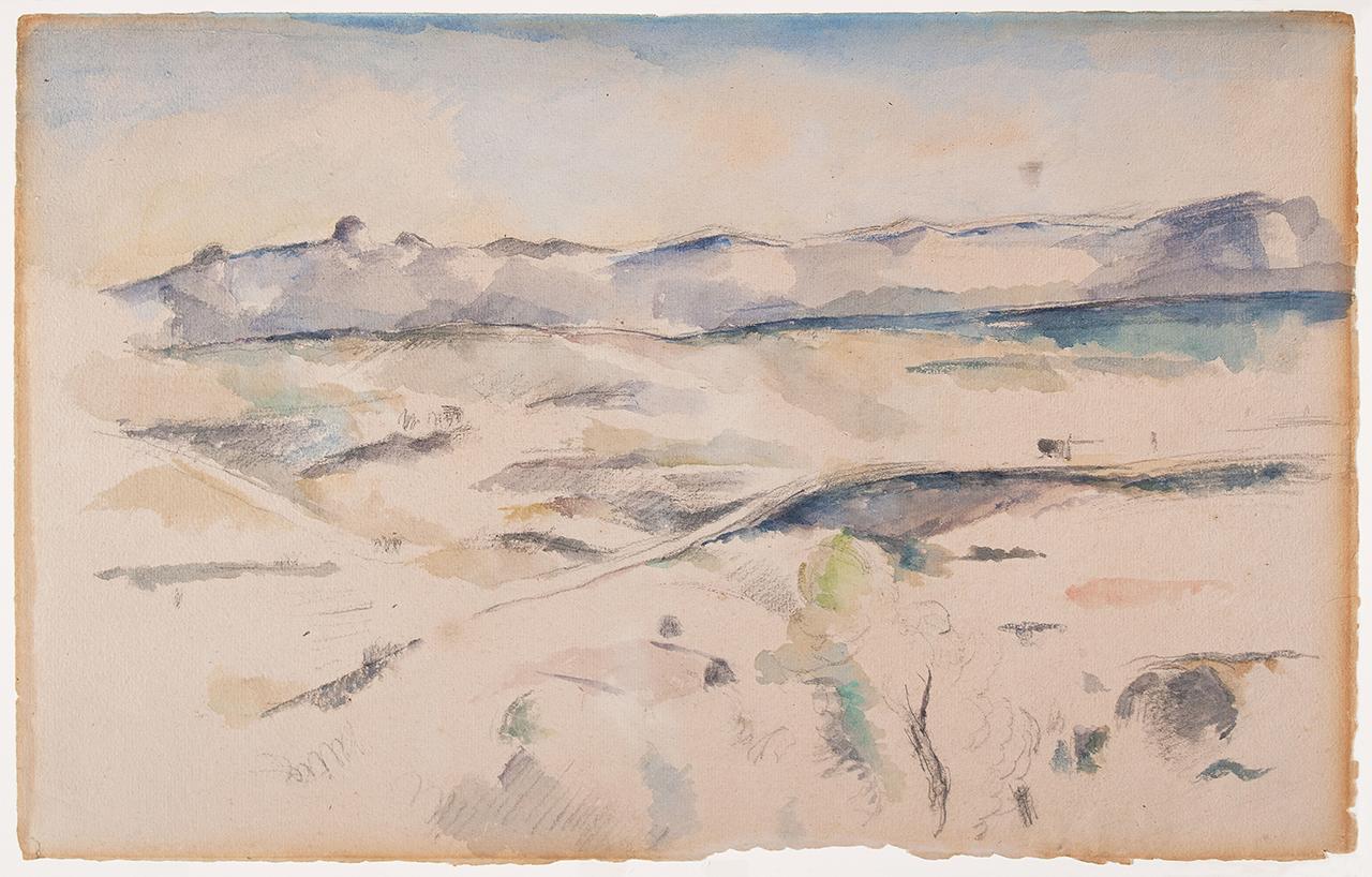 """Paul Cézanne, """"The Chaîne de l'Etoile Mountains (La Chaîne de l'Etoile avec le Pilon du Roi)"""" (1885–1886), watercolor and graphite on wove paper, sheet: 12 3/8 x 19 1/8 in (31.4 x 48.6 cm) (photo © 2015 The Barnes Foundation) (click to enlarge)"""