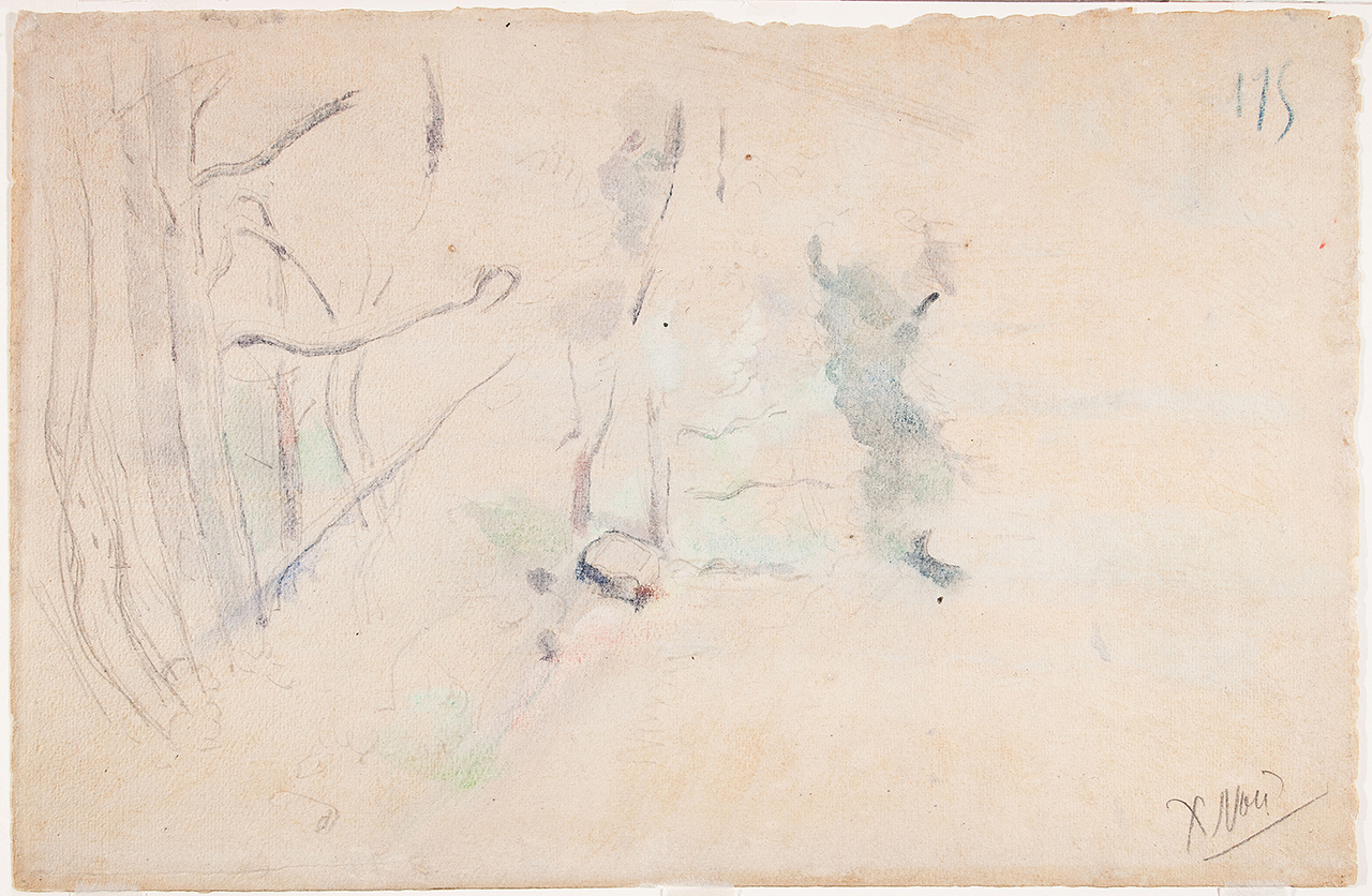 """One of the newly discovered Paul Cézanne sketches, """"Houses in Landscape with the Pilon du Roi"""" (nd), graphite on laid paper, sheet: 12 3/16 x 18 11/16 in (31 x 47.5 cm), on the back of """"Trees"""" (Arbres) (c. 1900, possibly earlier), watercolor and graphite on laid paper (photo © 2015 The Barnes Foundation)"""