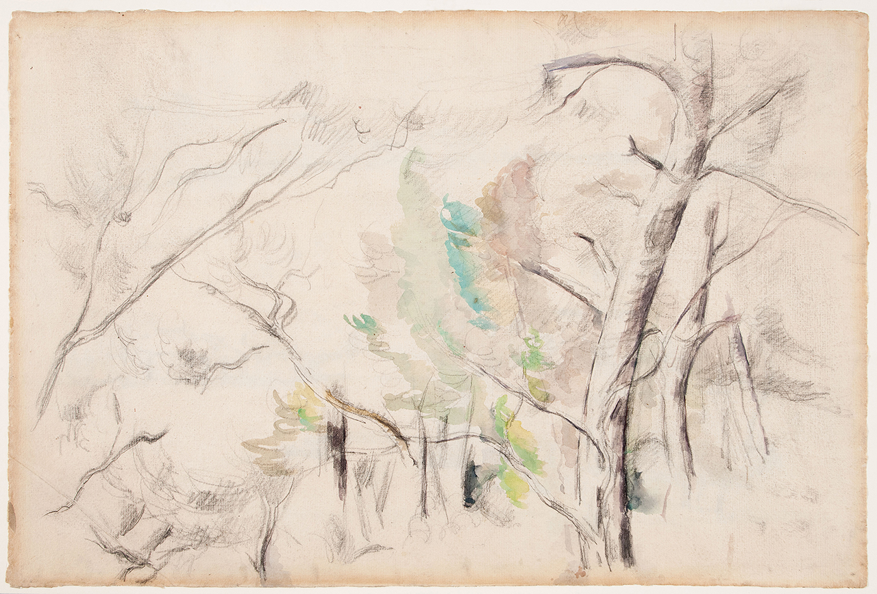 """Paul Cézanne, """"Trees"""" (Arbres) (c. 1900, possibly earlier), watercolor and graphite on laid paper, sheet: 12 3/16 x 18 11/16 in (31 x 47.5 cm) (click to enlarge)"""