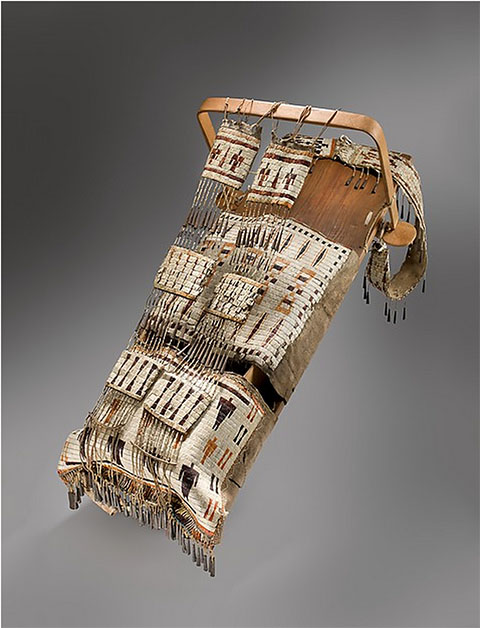 """Cradleboard with Thunderbirds,"" Dakota (Eastern Sioux), 1840, Peabody Essex Museum, Salem, Massachusetts, Museum Purchase"