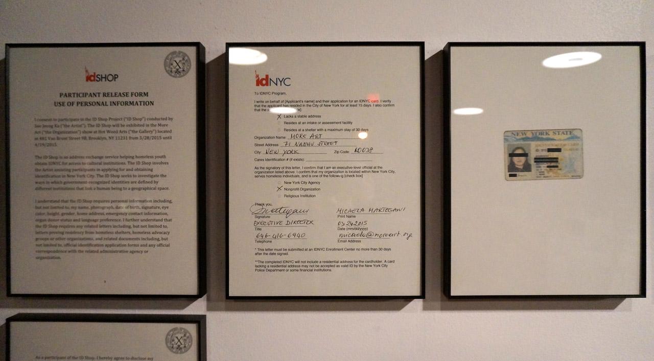 "Detail of Sue Jeong Ka's ""ID Shop"" installation"