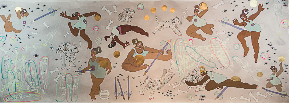 "Amaryllis DeJesus Moleski, ""Instructions for a Home Team"" (2014), gouache, watercolor, tea, marker, and acrylic on paper, 114.75 x 41.75 in (all images courtesy MoCADA) (click to enlarge)"