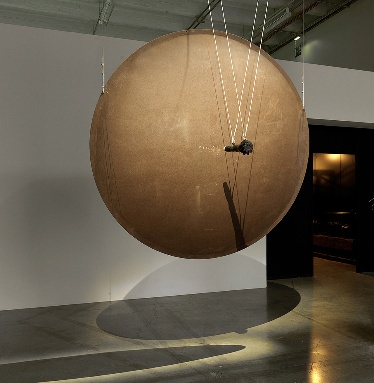 """Exhibition view of """"The Gong"""" (1995) (photo by André Morin) (click to enlarge)"""