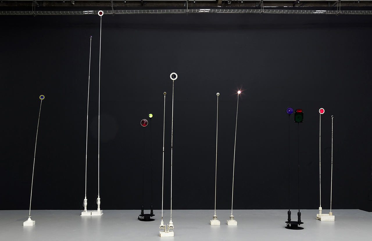 """Exhibition view with group of """"Signal lumineuxs"""""""