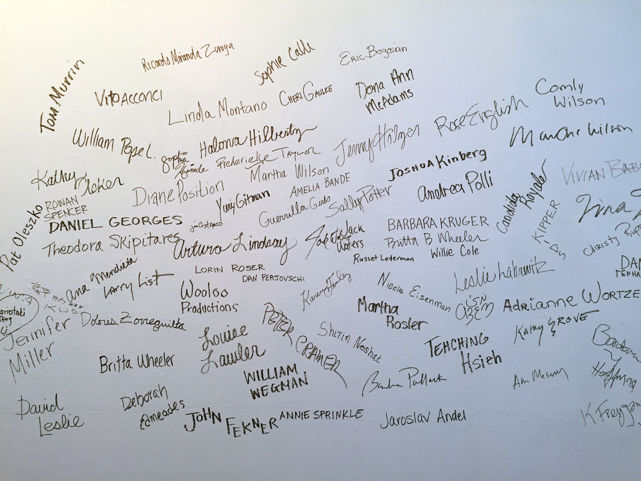 Photo of wall containing the names and some signatures of artists who have presented work with Franklin Furnace, Performing Franklin Furnace, Pratt Manhattan Gallery, 2015