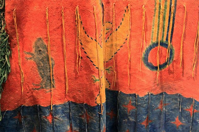 Ghost Dance Dress, Detail, Southern Arapaho artist, Oklahoma, ca. 1890, Native tanned leather, pigment, metal cones, The Nelson-Atkins Museum of Art, Kansas City, Missouri