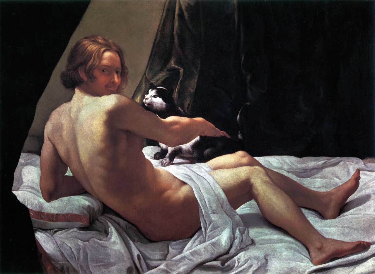 """Giovanni Lanfranco, """"Young Naked Man on a Bed with Cat"""" (1620-1622) Oil on canvas, 113 x 160 cm, England © Private Collection"""