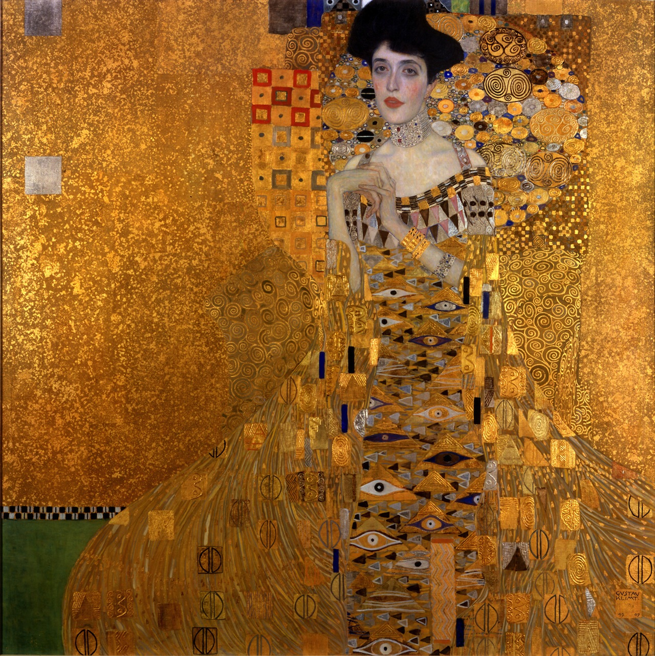 A portrait of Adele Bloch-Bauer's, painted by Gustav Klimt in 1907 and later seized by the Nazis. (Image via Wikimedia)