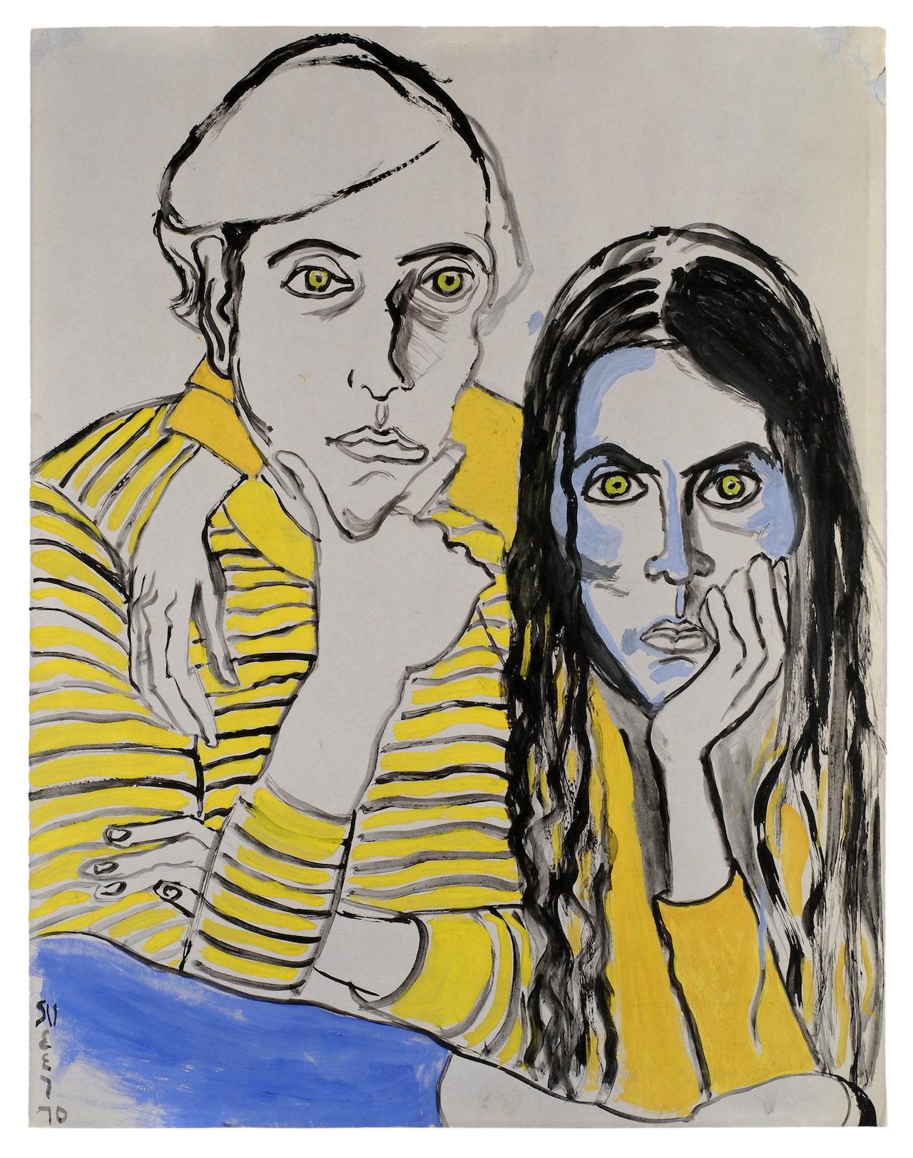 Alice Neel Hartley and Ginny, 1970 Acrylic on cardboard 28 1/4 x 22 inches (71.8 x 55.9 cm) © The Estate of Alice Neel Courtesy David Zwirner, New York/London