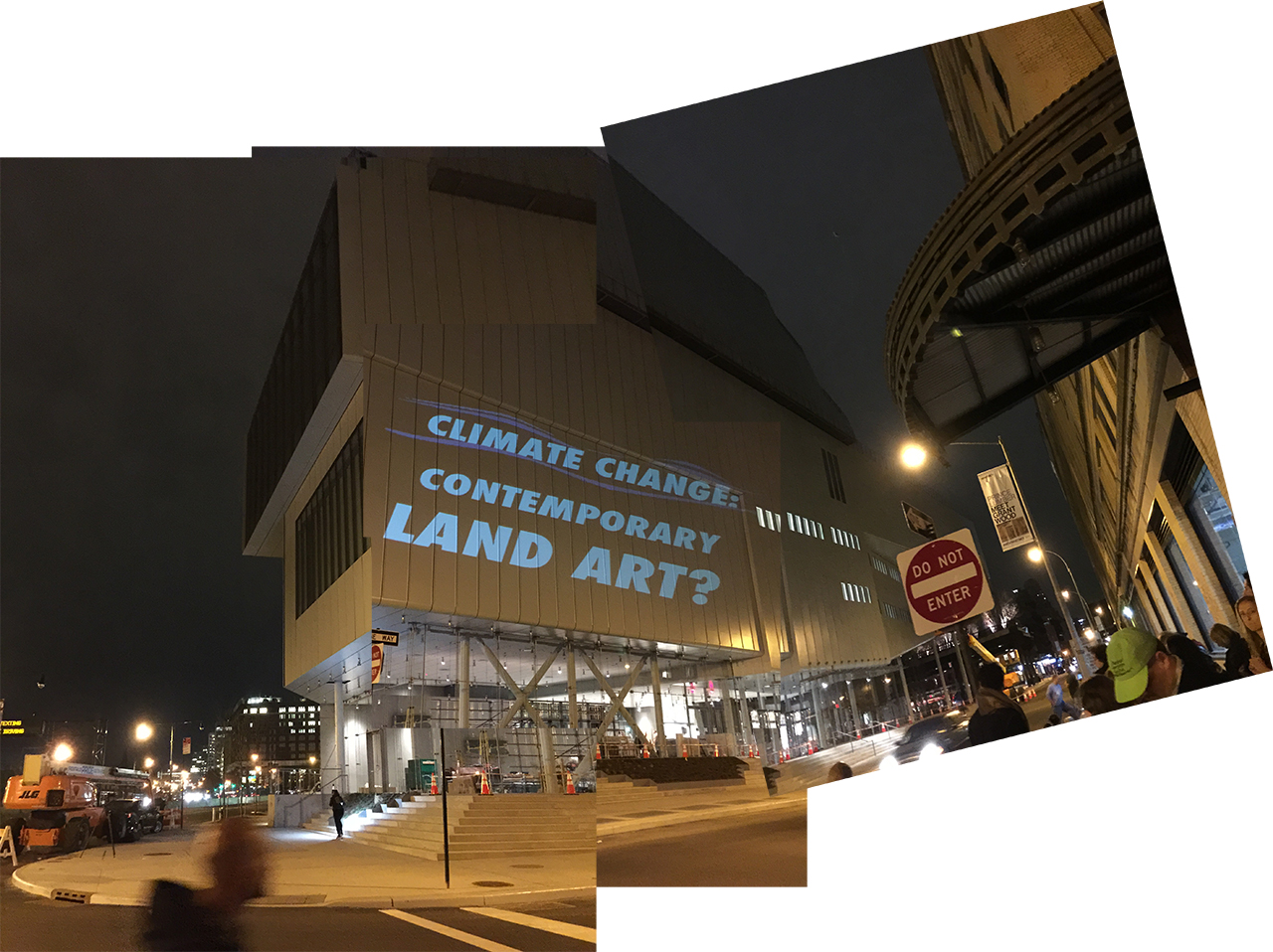 One of the projects on the facade of the new Whitney Museum during Tuesday night's #WhitneyPipeline inauguration. (all images by the author for Hyperallergic)
