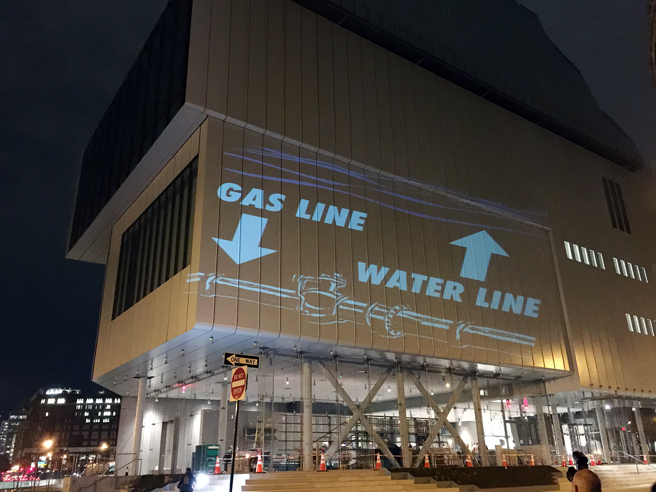 "One of the projects by The Illuminator during Tuesday night's #WhitneyPipeline ""inauguration"""