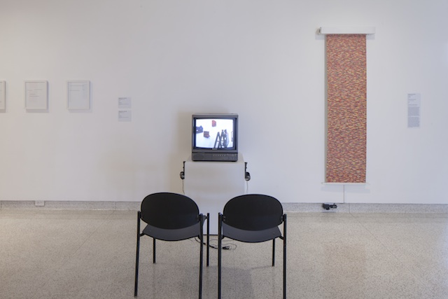 Installation image of Smile and Camuflage by Kasia Fudakowski at the Museum of Contemporary Art San Diego's La Jolla location, 2015. Photo by Pablo Mason.