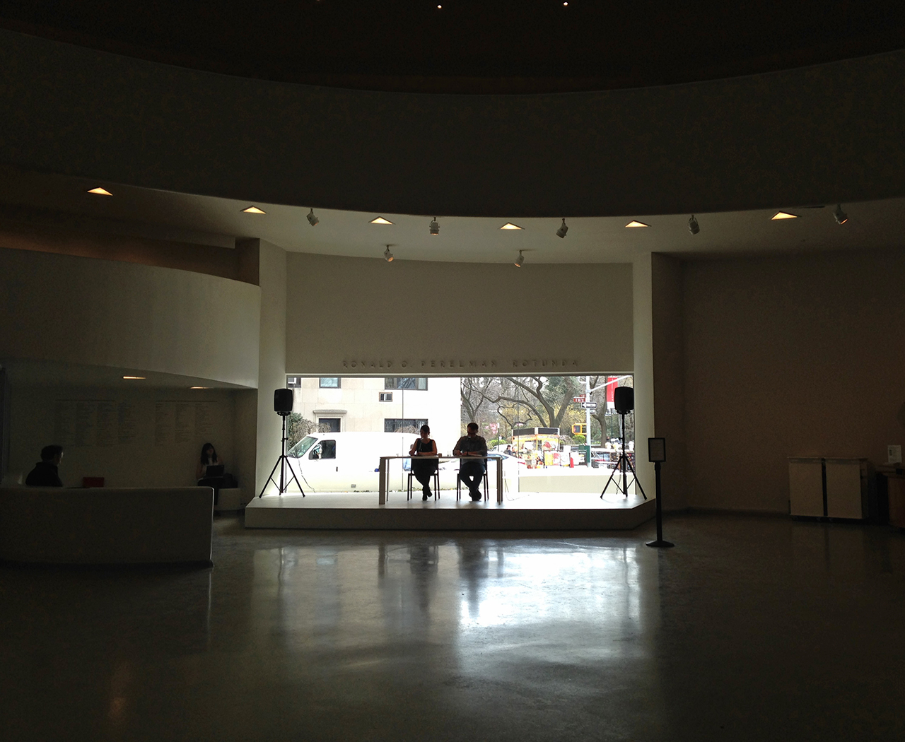 Reading of On Kawara's 'One Million Years' at the Guggenheim Museum (all photos by the author for Hyperallergic)
