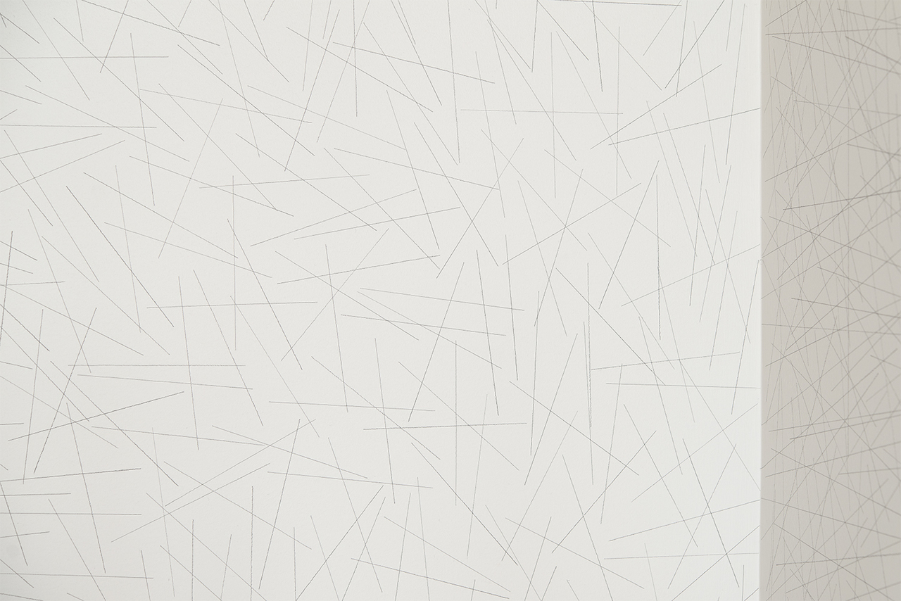 Sol LeWitt Wall Drawing #109, 1971, 2015 (detail) ten thousand random straight lines on each of two walls in black pencil. Left wall: 5 inches long, right wall: 10 inches long Drawn by Nobuto Suga, Lynne Woods Turner, Storm Tharp and Sarah Miller Meigs photograph by Evan La Londe