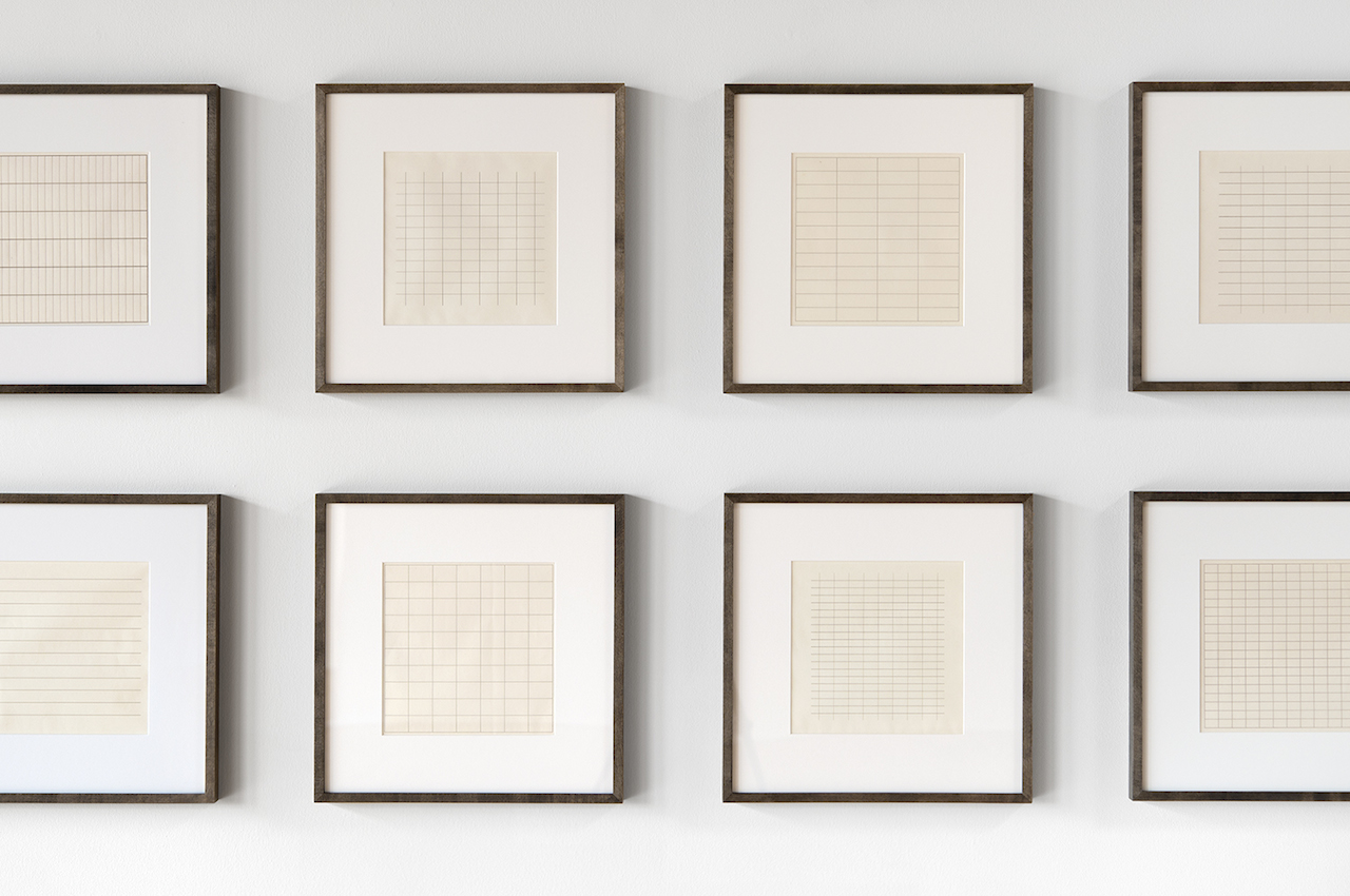Agnes Martin On a Clear Day, 1973 (detail) 30 screenprints photograph by Evan La Londe