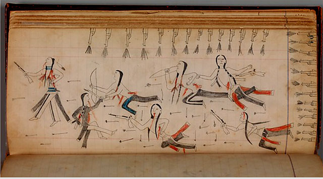 """Maffet Ledger"",  Southern and Northern Cheyenne, 1874–1881, The Michael C. Rockefeller Memorial Collection, Purchase, Nelson A. Rockefeller Gift, 1968"