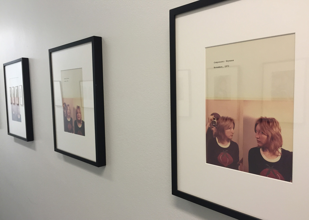 "Installation view of Martha Wilson's ""Composure"" series (1972)"