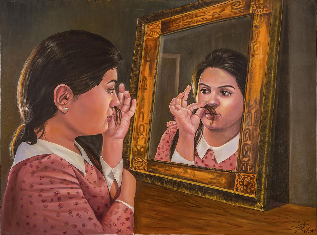 Najat Mutahar, A Man Has No Shame, 2014, Oil on Canvas, 91 X 121 cm