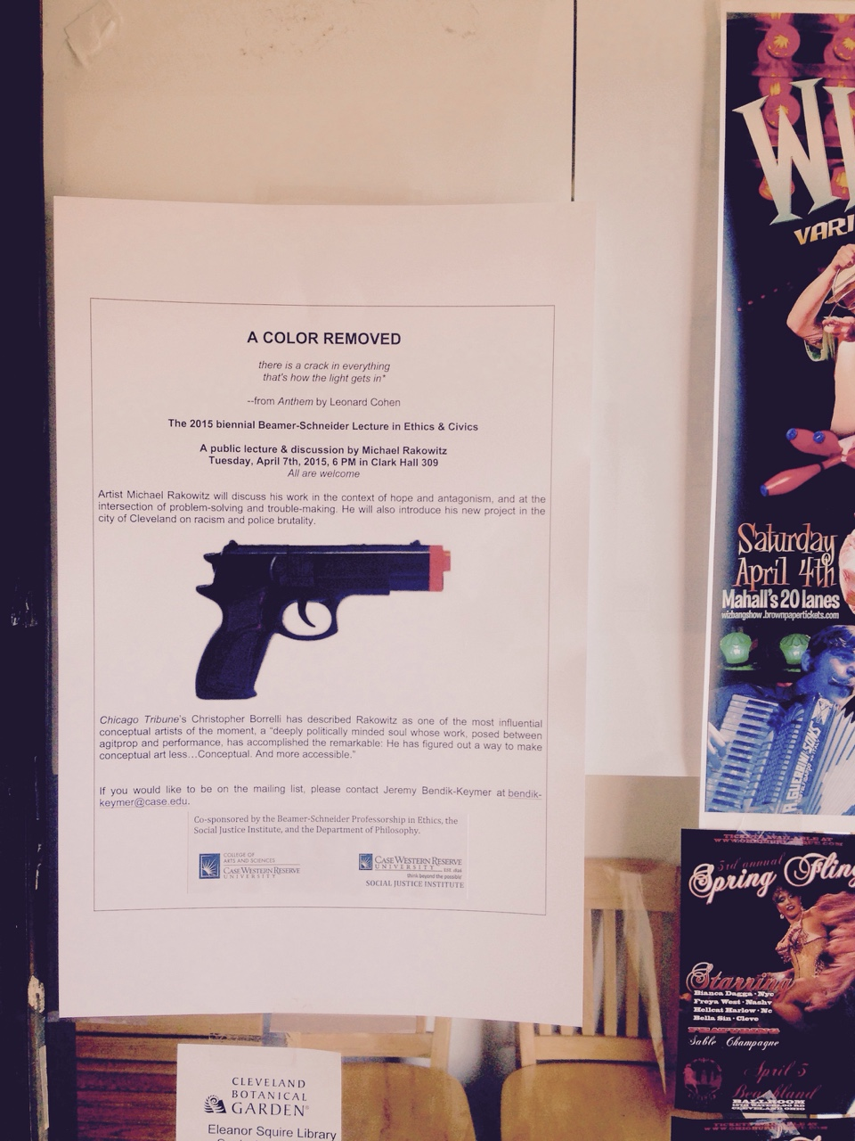 A flyer for Rakowitz's lecture (photo by Jeremy David Bendik-Keymer)