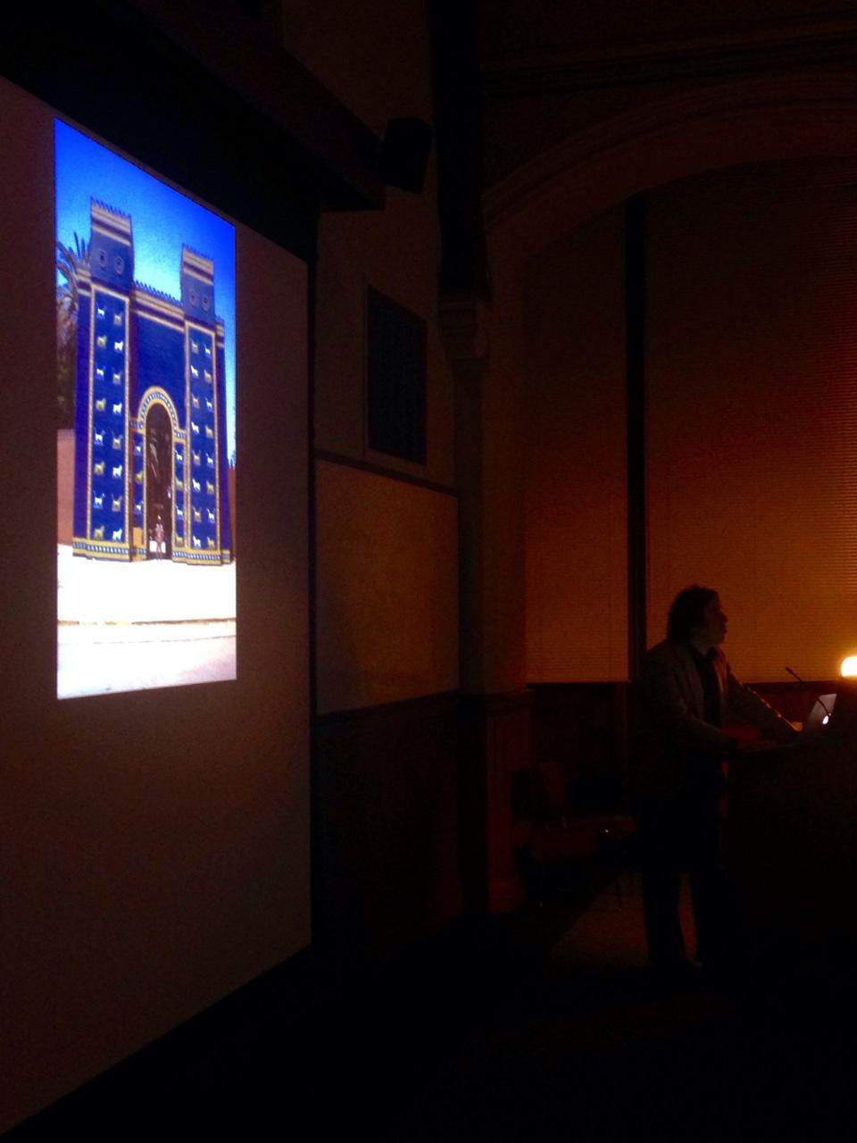 Michael Rakowitz delivering his lecture at Case Western Reserve University (photo by Jeremy David Bendik-Keymer) (click to enlarge)