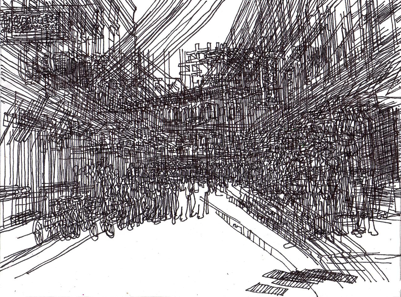 """Sheena Rose, still from """"Random Town"""" (2010–11), dand-drawn animation, 1:30 min"""