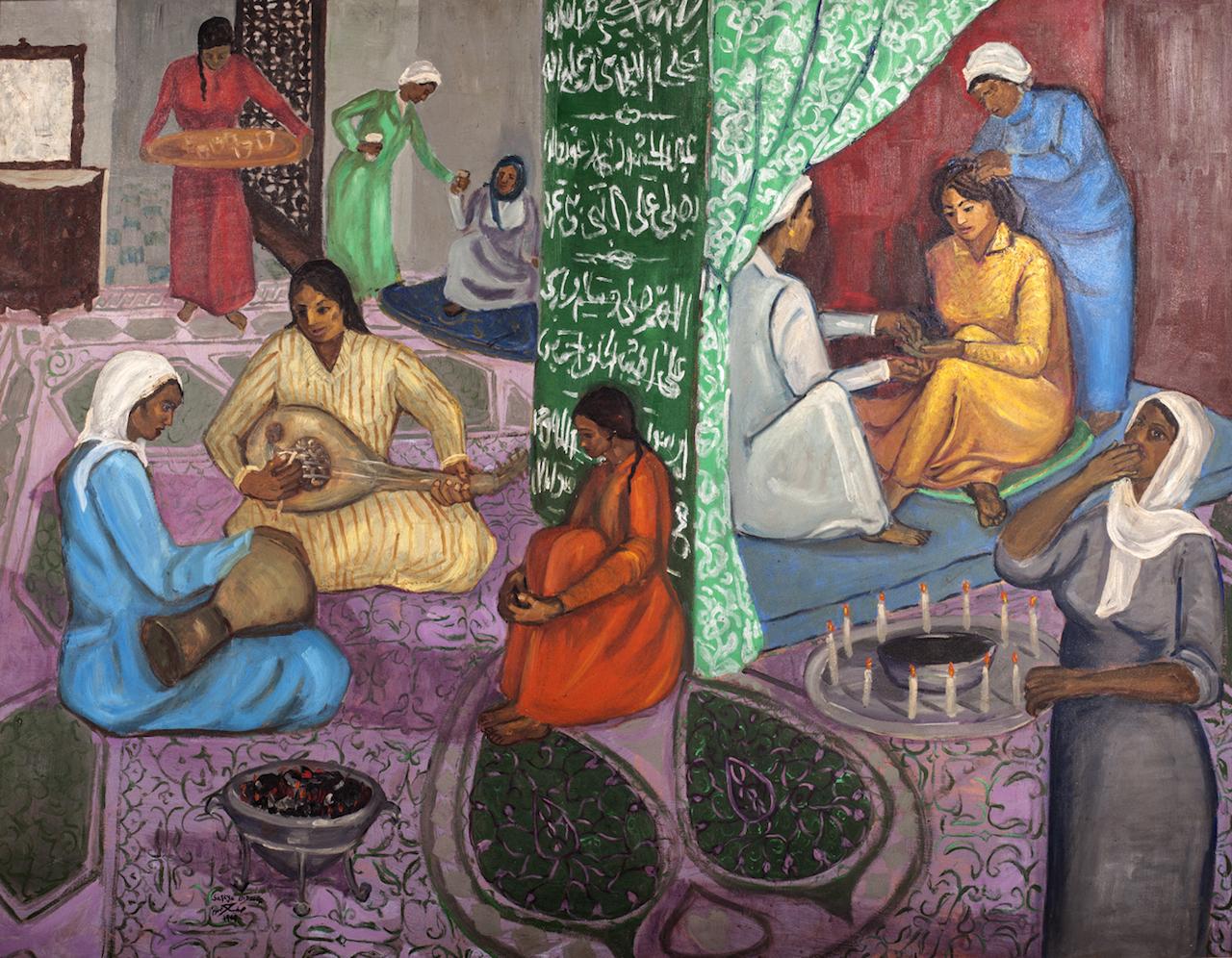 Safeya bin Zager, Al Henna, 1969, Oil on Canvas, 95 x 123 cm