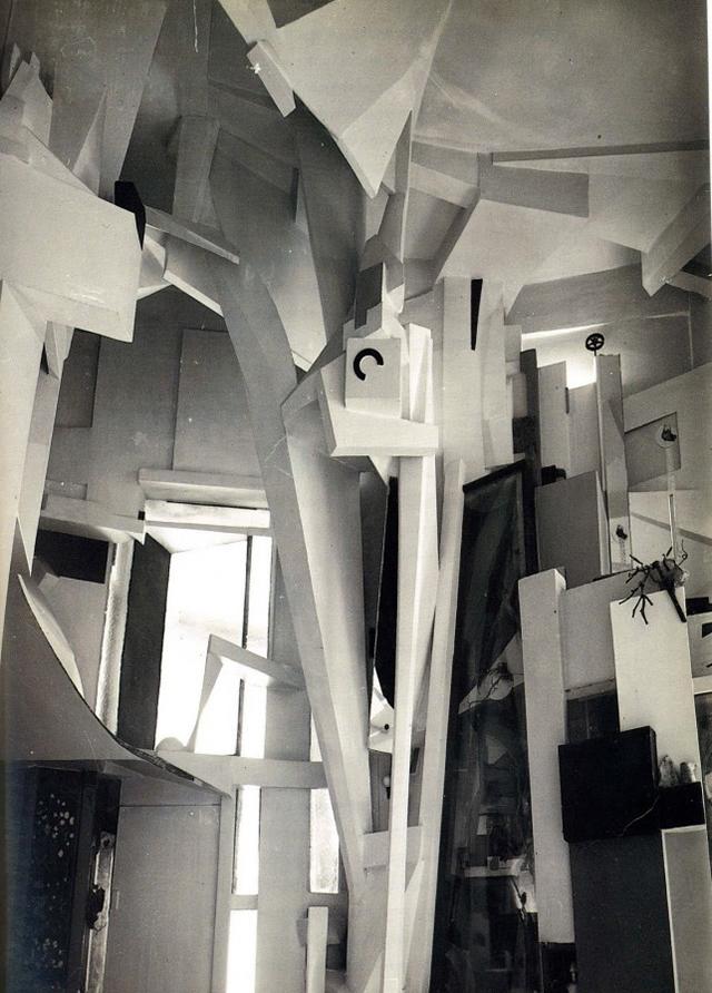 Kurt Schwitters's Hannover 'Merzbau,' which was destroyed during World War II (photo by Wilhelm Redemann, 1933) (image via moma.org)