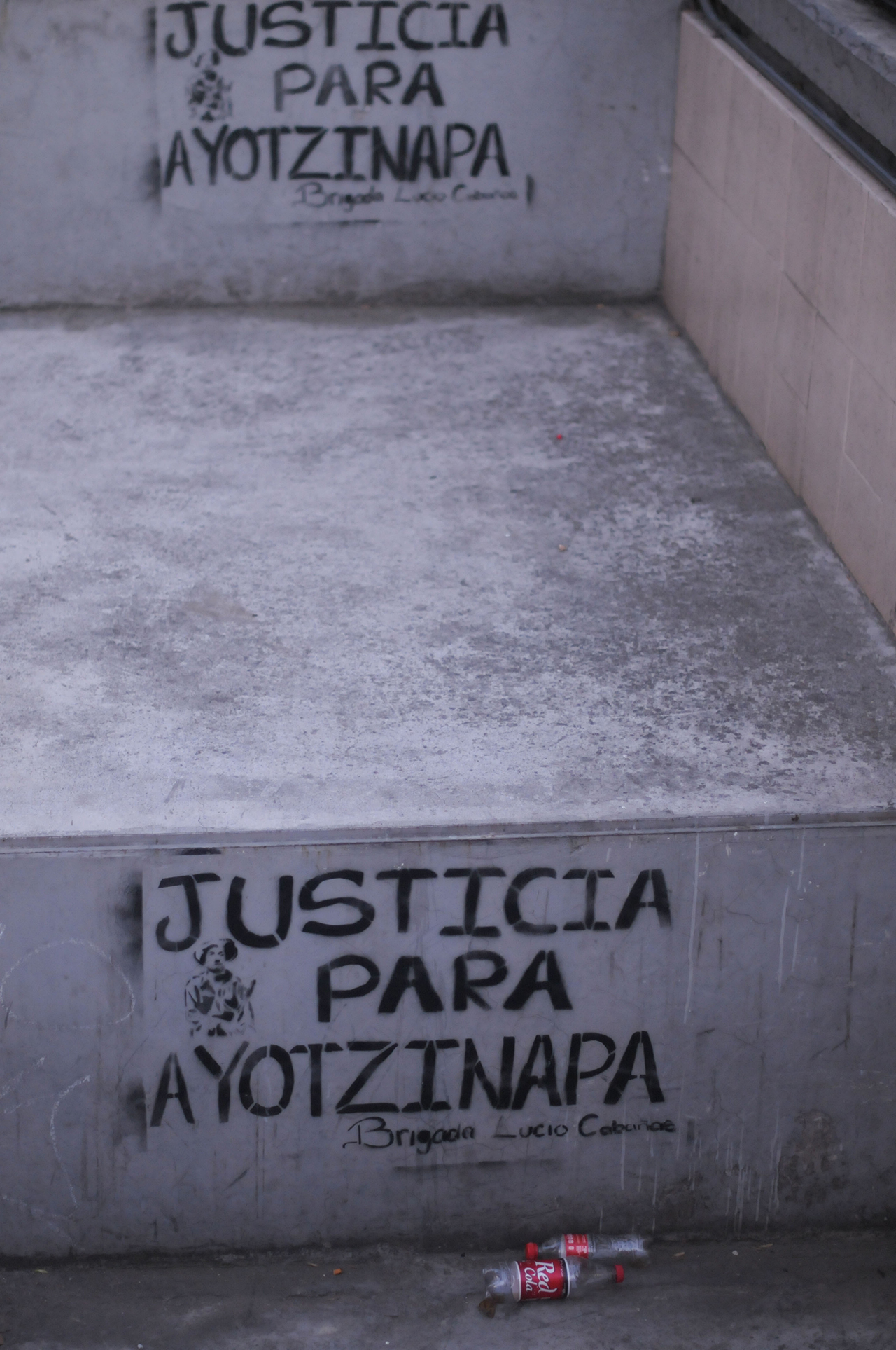 Stencils calling for justice for Ayotzinapa