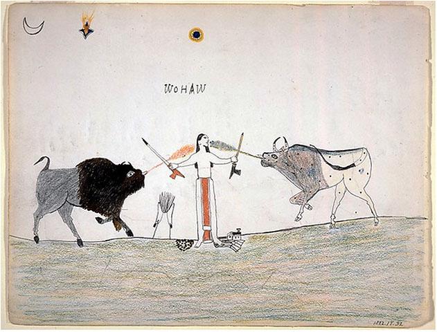 """A Man Receiving Power From Two Spirit Animals"", Woha (Kiowa), 1877,  Missouri History Museum, Saint Louis"