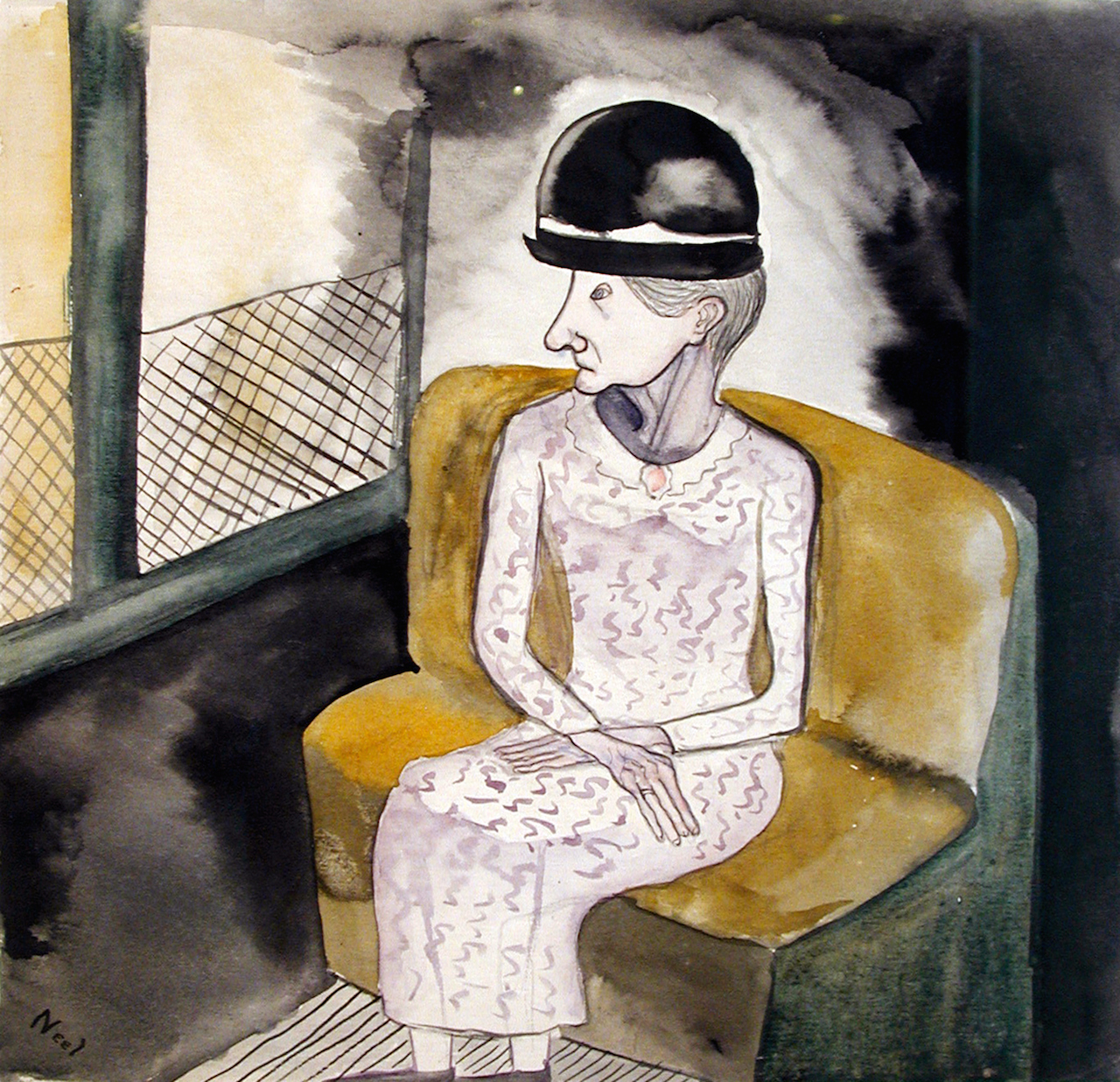"Alice Neel, ""Woman on a Train"" (ca. 1940), watercolor on paper, 9 3/4 x 9 3/4 inches (24.8 x 24.8 cm)"