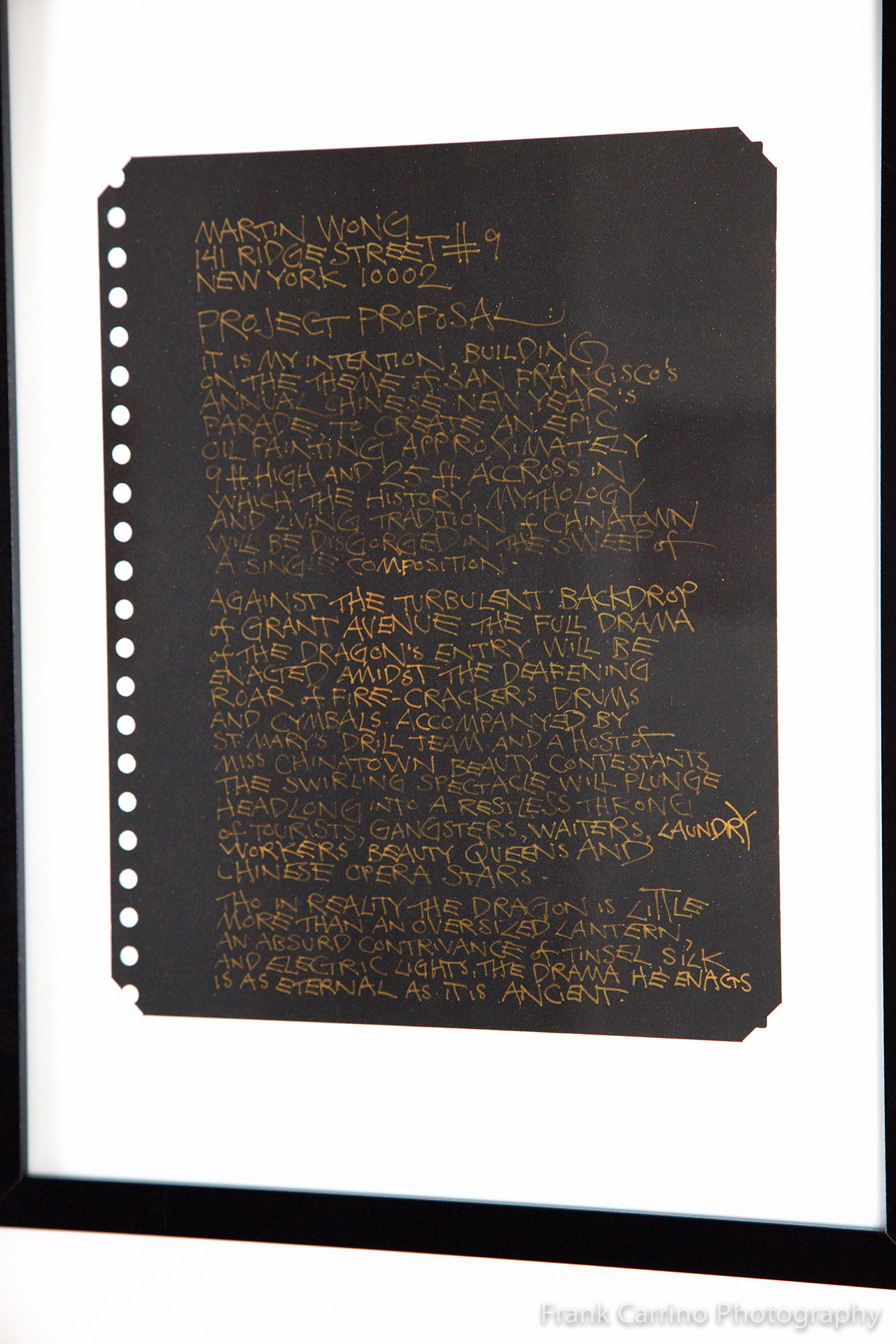 "Martin Wong, ""Project Proposal"" (c. 1980s), gold ink on black paper (courtesy New York University Fales Library & Special Collections Martin Wong Papers 1982-1999, New York) (click to enlarge)"