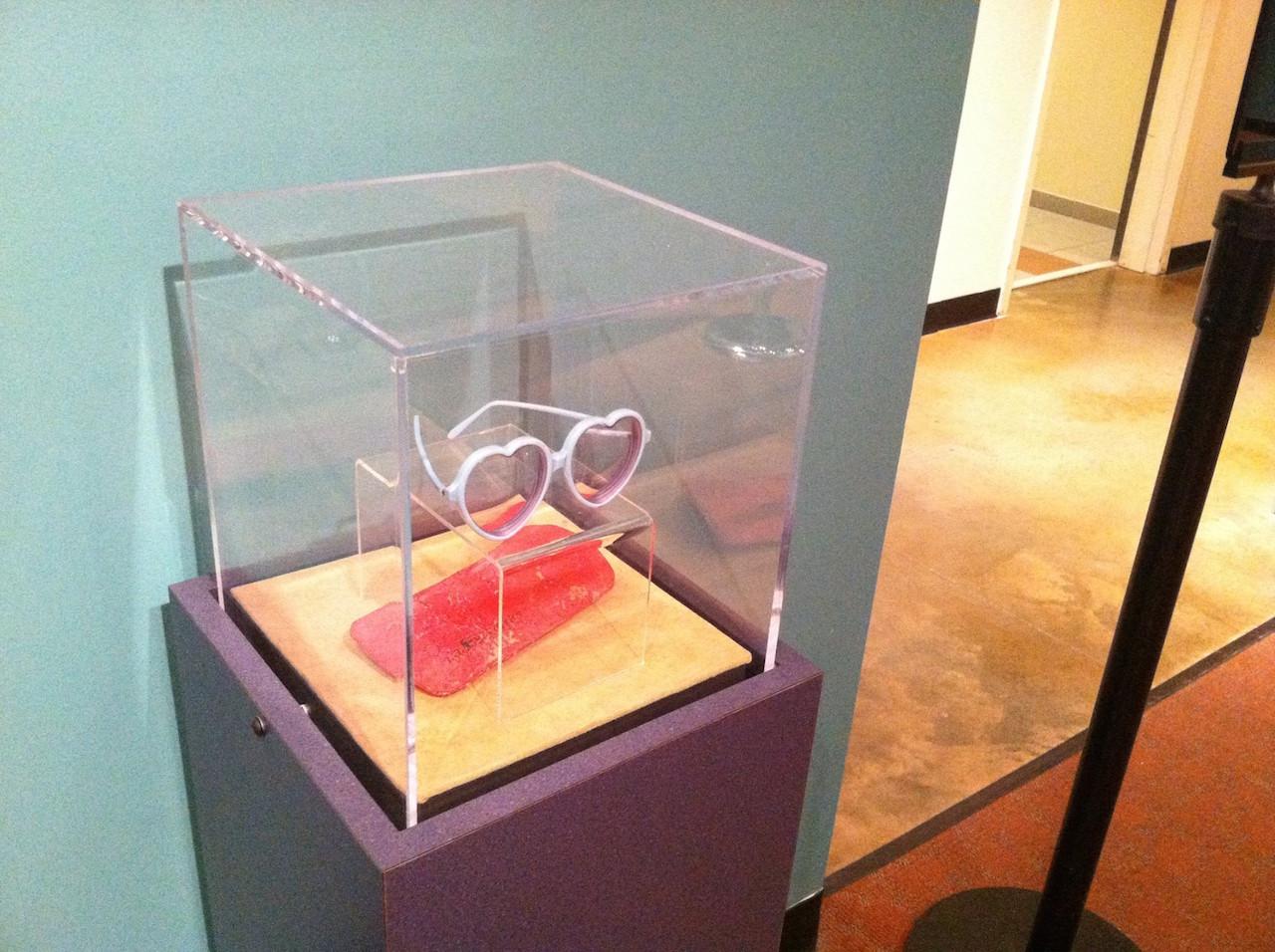 Elton John's glasses in their display case at the Rock 'n' Soul Museum (photo via Facebook)