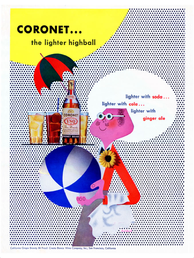 1717_Everything is Design_Paul Rand_Courtesy of Museum of City of NYCoronet Brandy magazine advertisement1946advertisement Private CollectionCoronet Brandy advertisement with Coronet man holding a beach ball, designed by Paul Rand.