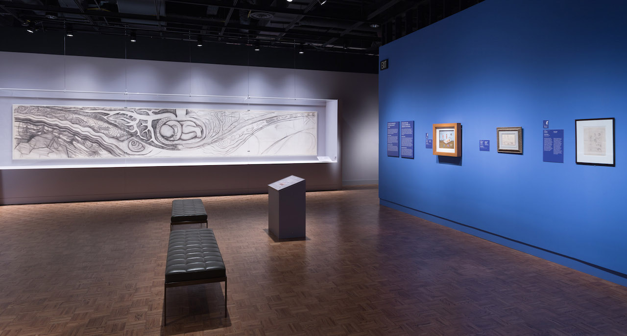 Installation view of 'Diego Rivera and Frida Kahlo in Detroit' at the Detroit Institute of Arts, with Frida Kahlo's untitled lithograph at far right (photo courtesy the Detroit Institute of Arts)
