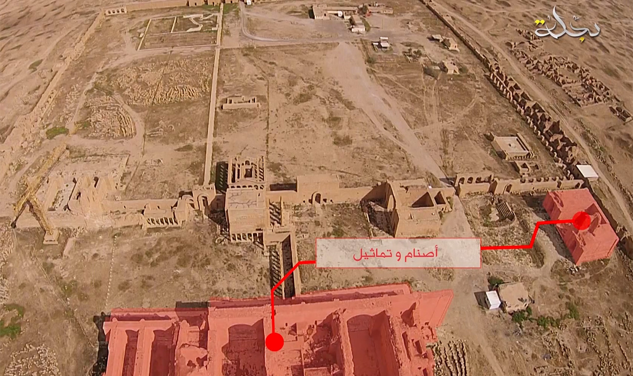 An aerial image from ISIS's video (all YouTube screenshots by the author)