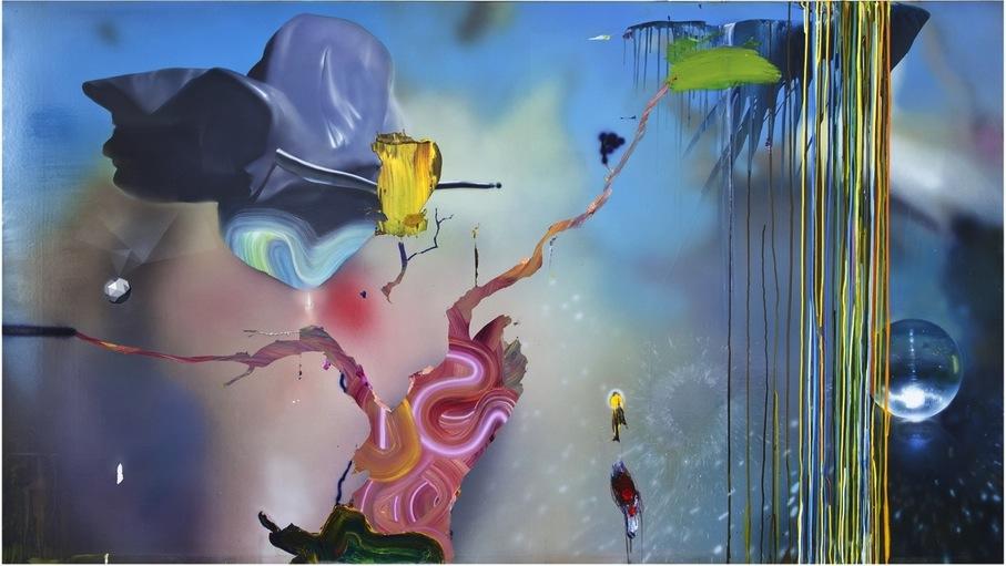 "Tom LaDuke, ""Polyrhythmic Looping"" (2014), acrylic and glitter on canvas over panel, 53 x 95 x 2 inches (via kohngallery.com)"