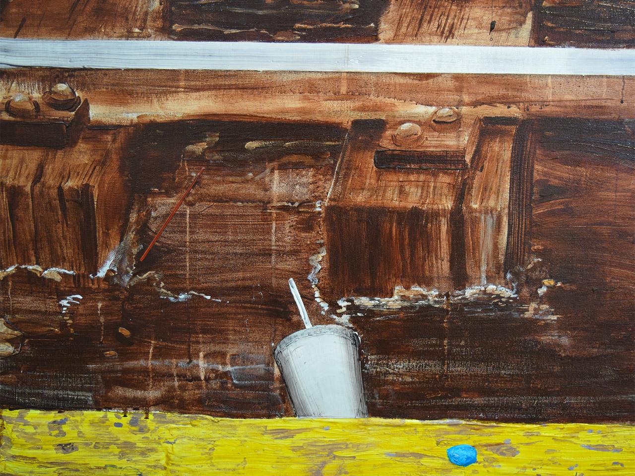 """Detail of Hilary Doyle, """"Subway Tracks"""" (2014)"""