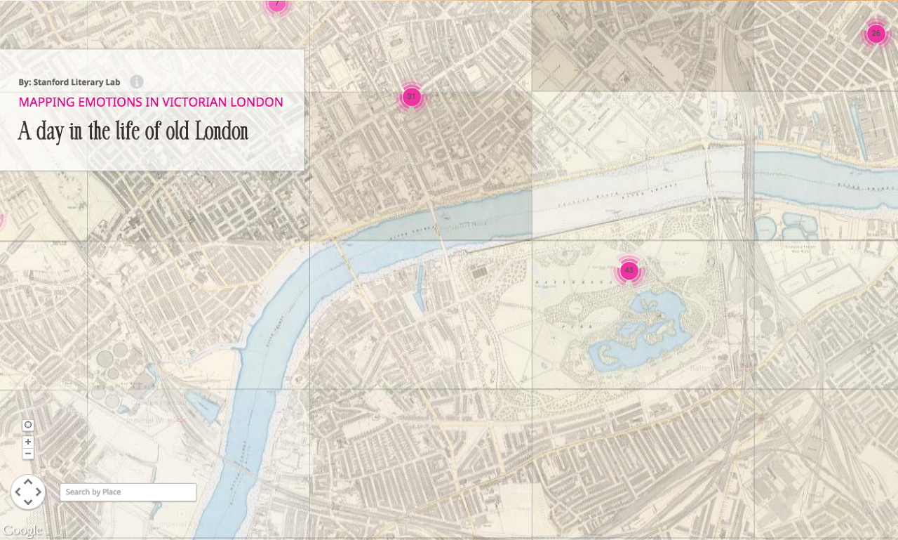 """Pins from """"A Day in the Life of Old London"""" on Mapping Emotions in Victorian London"""