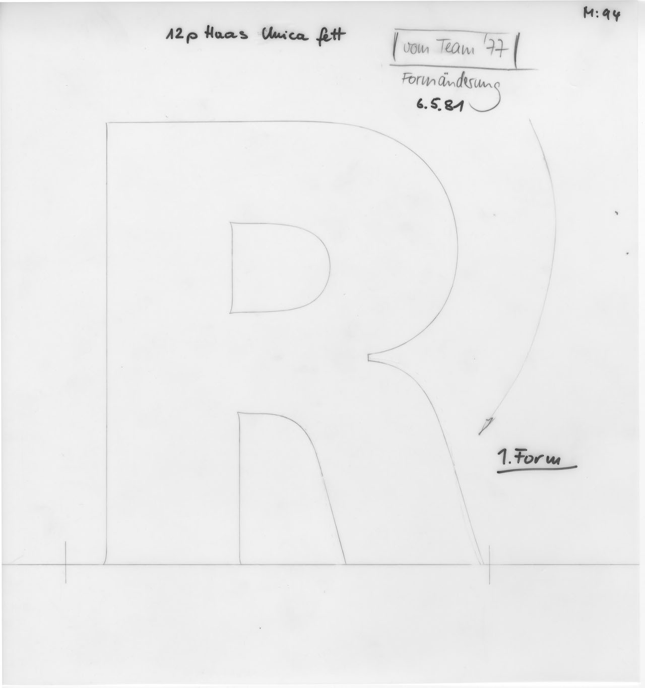 A pencil drawing for film for Neue Haas Unica (courtesy Monotype)