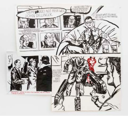 """Raymond Pettibon, """"No title (Crime does not)"""" 2015, Collage, ink, pen, and graphite on paper, 34 5/8 x 31 inches (via regenprojects.com)"""