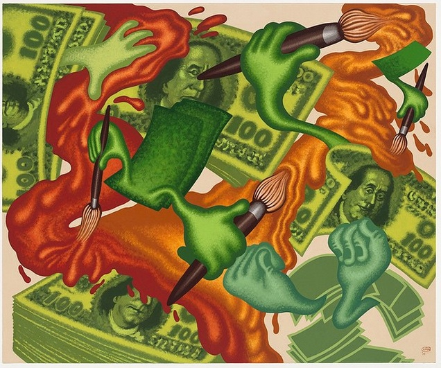 """Peter Saul, """"Art and Money"""" (2015), acrylic on canvas, 60 x 72 inches (via instagram)"""