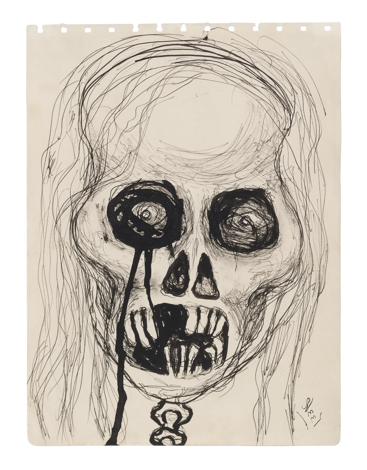 Alice Neel Self-Portrait Skull, 1958 Ink on paper 11 3/4 x 8 3/4 inches (29.8 x 22.2 cm) © The Estate of Alice Neel Courtesy David Zwirner, New York/London (click to enlarge)