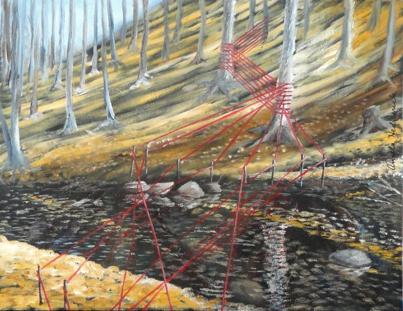 Painting by Angela Hedderick of Cumberland, Maryland, which followed Megan Mosholder's installation