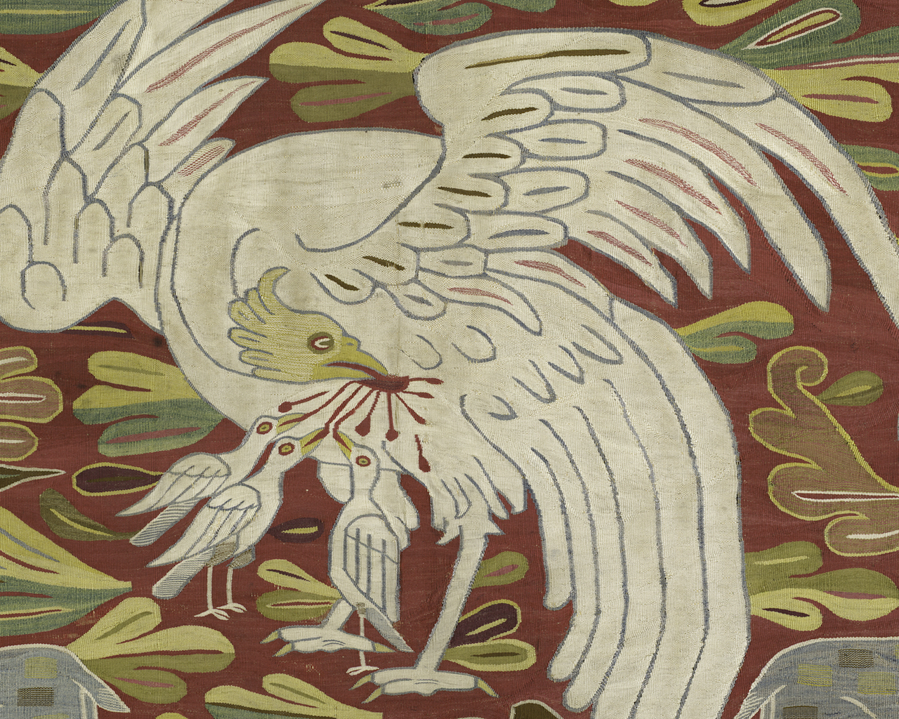 Detail of table covering or wall hanging, Peru, south highlands, 1675–1700, 68.9 x 64.2 in, (acquired by George Hewitt Myers in 1951)