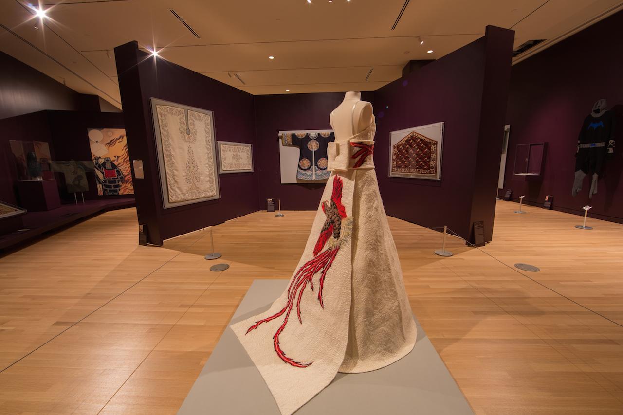 Installation view of 'Unraveling Identity' with Arlette Muschter and Claudy Jongstra, Wedding Dress Japonesque, the Netherlands, 2000 (Cincinnati Art Museum purchase, Lawrence Archer Wachs Fund; photo by William Atkins, courtesy The George Washington University)