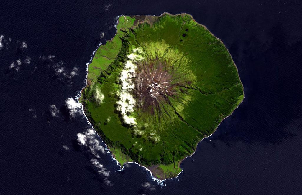 Aerial view of Tristan da Cunha (via NASA)