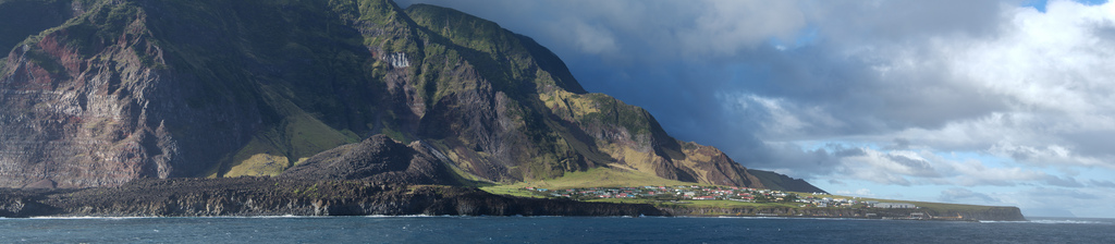 View of Tristan da Cunha, with Edinburgh of the Seven Seas at right (photograph by Brian Gratwicke, via Flickr)