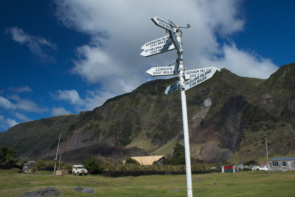 Signs to distant locales in Edinburgh of the Seven Seas (photograph by Brian Gratwicke, via Flickr)