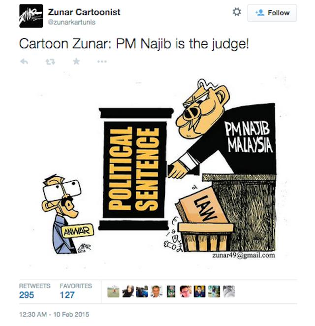 The last cartoon Zunar tweeted before his arrest (Image via Twitter)