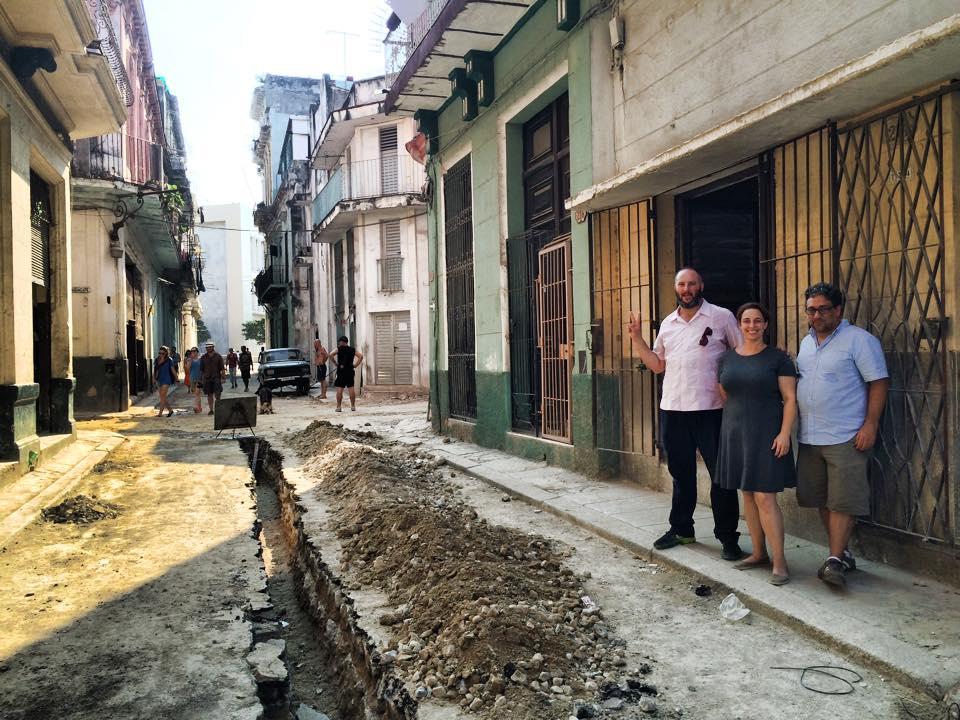Pablo Leon Dela Barra,  Tania Bruguera, and Gean Moreno in Havana (photo courtesy Pablo Leon Dela Barra's Facebook page)